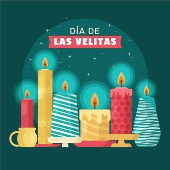Dia de las velitas met kaarsen