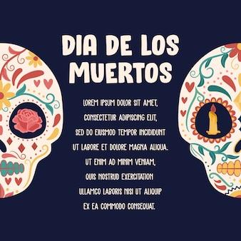 Día de los muertos-achtergrond met kleurrijke schedel