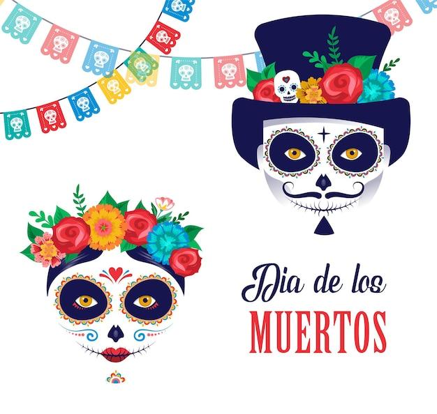Dia de los muertos dag van de dode mexicaanse vakantie festival poster banner en kaart met make-up van