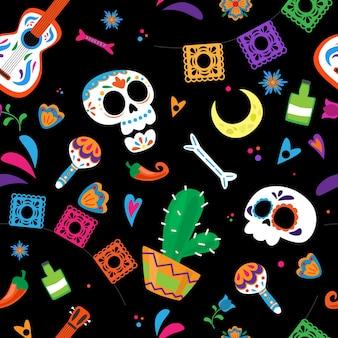 Dia de los muertos dag van de doden naadloos patroon
