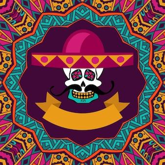 Dia de los muertos doodle suiker schedel met snor en sombrero vector
