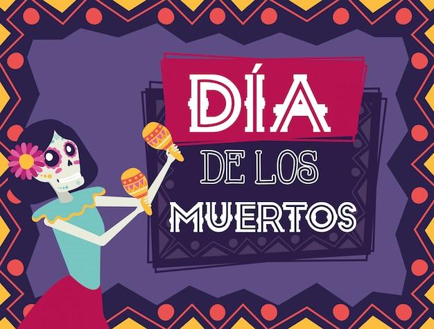 Dia de los muertos kaart met catrina maraca's spelen