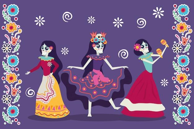 Dia de los muertos kaart met catrinas schedels karakters