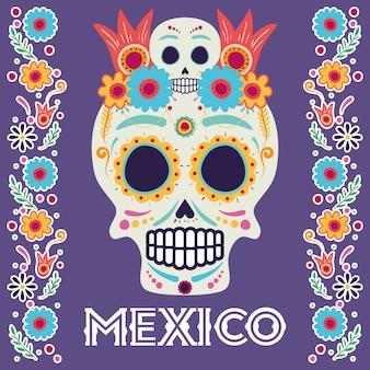 Dia de los muertos-kaart met hoofdschedel en bloemen