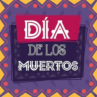 Dia de los muertos-kaart met label met opschrift