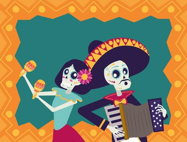 Dia de los muertos kaart met mariachi accordeon en catrina spelen