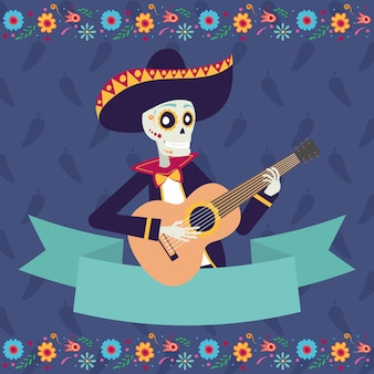 Dia de los muertos-kaart met mariachi skul