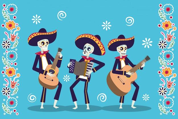 Dia de los muertos-kaart met mariachis-schedels die instrumenten spelen