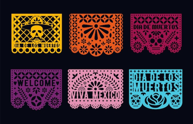 Dia de los muertos - mexicaanse dag van de doden. uitgesneden papieren kaarten set. papel picado-collectie.