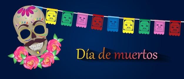Dia de los muertos mexicaanse feestdag dag van de doden vectorillustratie mexicaans feestelijk
