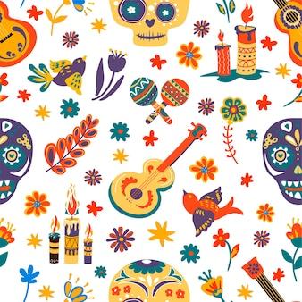 Dia de los muertos naadloos patroon met schedels en bloemen, bloemenornamenten en brandende kaarsen. maracas en akoestische gitaar, vliegende vogels en muziekinstrumenten. mexicaanse vakantie vector in flat