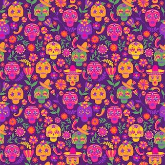 Dia de los muertos naadloos vectorpatroon. de belangrijkste symbolen van de vakantie op de donkere ba