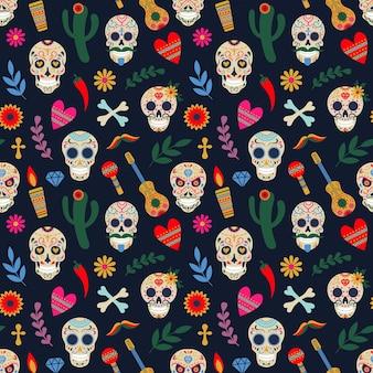 Dia de los muertos patroon. dag van de dode mexicaanse bloemen suiker menselijk hoofd botten vectorillustratie. dode dag vakantie naadloze patroon. decoratie mexicaans halloween met bloemenschedel en gitaar