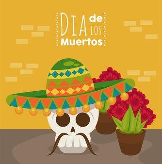Dia de los muertos poster met mariachi-schedel en bloemen