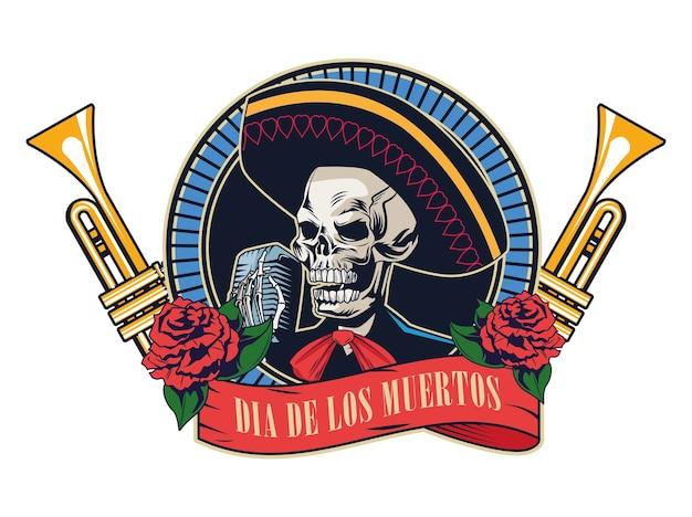 Dia de los muertos poster met mariachi schedel en trompetten vector illustratie ontwerp