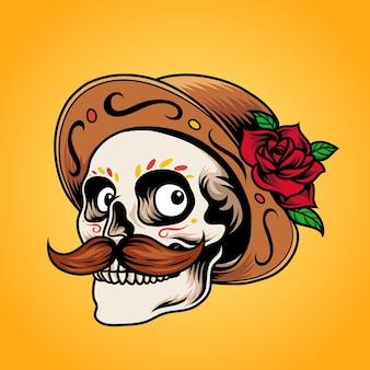 Dia de los muertos schedel met hoed