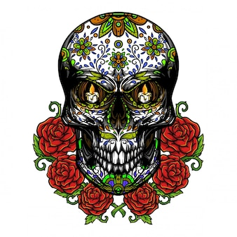 Dia de los muertos schedelillustratie