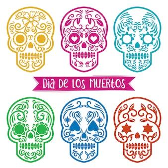 Dia de los muertos skull vintage collectie met ornament binnen