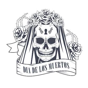 Dia de los muertos-viering met vrouwenschedel in ontwerp van de de tekenings het vectorillustratie van het lintkader