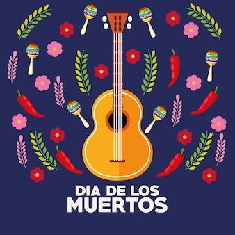 Dia de los muertos viering poster met gitaar en bloemen vector illustratie ontwerp