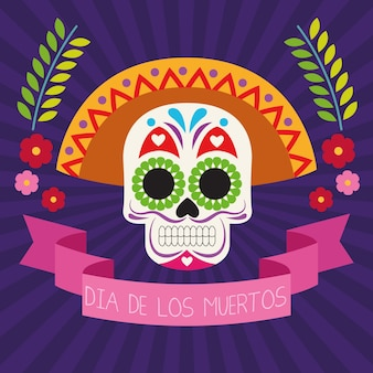 Dia de los muertos viering poster met schedel hoofd en lint frame vector illustratie ontwerp