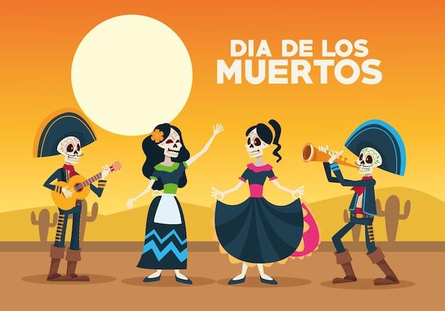 Dia de los muertos-vieringskaart met skelettengroep in woestijn