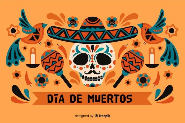 Dia de muertos achtergrond en schedel met maracas