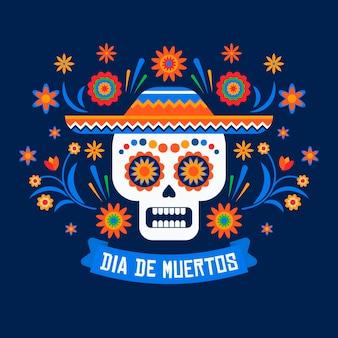 Dia de muertos achtergrond in plat ontwerp