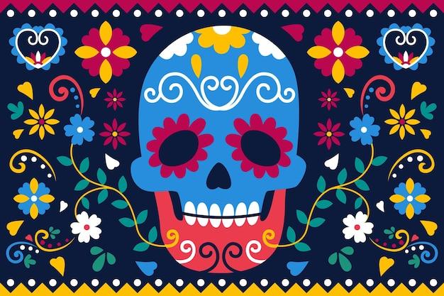 Día de muertos achtergrond in plat ontwerp