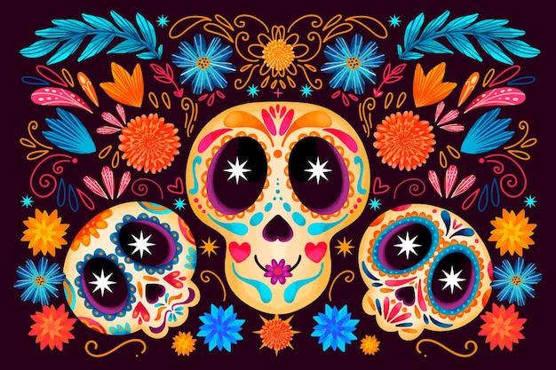 Dia de muertos aquarel schedels achtergrond