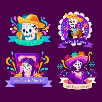 Dia de muertos-badgecollectie in plat ontwerp