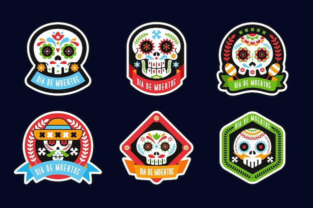 Día de muertos-badgecollectie in plat ontwerp