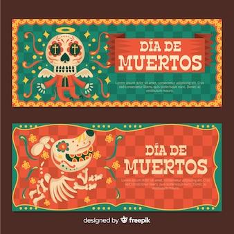 Dia de muertos banners in plat ontwerp