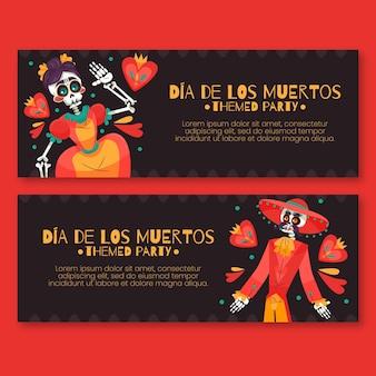 Dia de muertos-banners in plat ontwerp