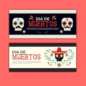 Día de muertos-banners in plat ontwerp