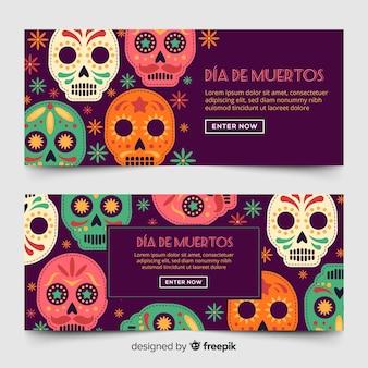 Día de muertos banners in vlakke stijl