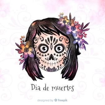 Dia de muertos concept met aquarel achtergrond