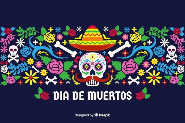 Dia de muertos concept met platte ontwerp achtergrond