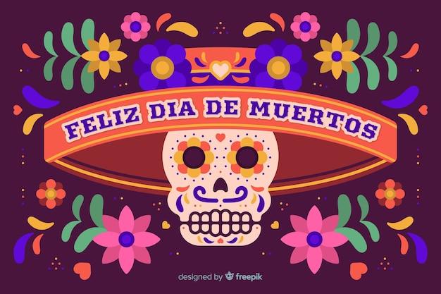 Día de muertos concept met platte ontwerp achtergrond