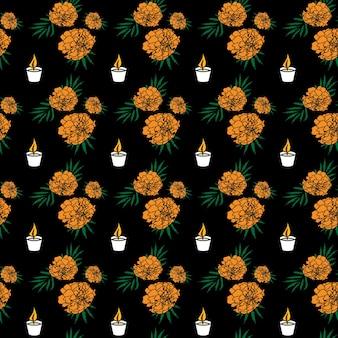 Dia de muertos gekleurde naadloze patroon. op een zwarte achtergrond - schattige kleurrijke goudsbloembloemen en kaarsen