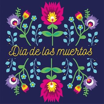 Dia de muertos kaart belettering met bloemen tuindecoratie