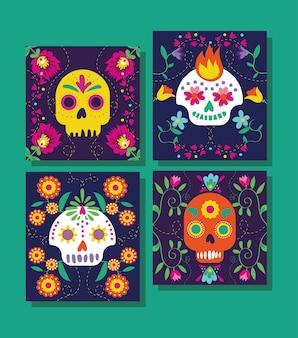 Dia de muertos-kaarten met schedels en bloemen