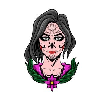 Dia de muertos kleurrijk meisje