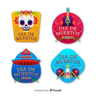 Dia de muertos kleurrijke badges met traditionele elementen