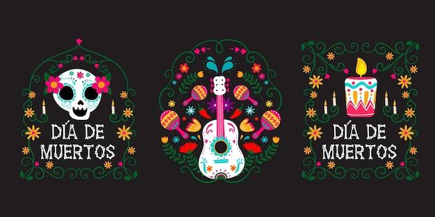 Dia de muertos labelcollectie in plat design