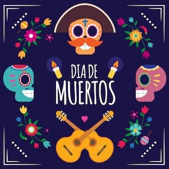 Dia de muertos mexicaans carnaval