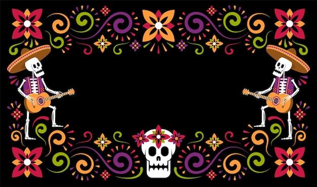 Dia de muertos mexicaanse halloween bloemen flyer dag van de doden met skeletten