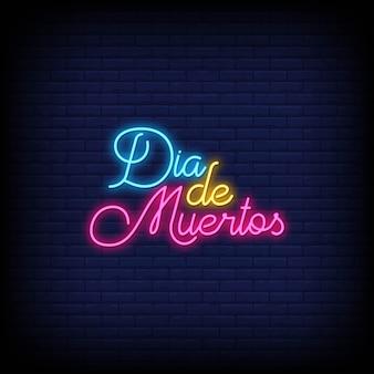 Dia de muertos neon tekens stijl tekst