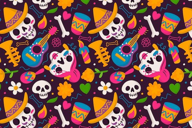 Dia de muertos patroon in plat design