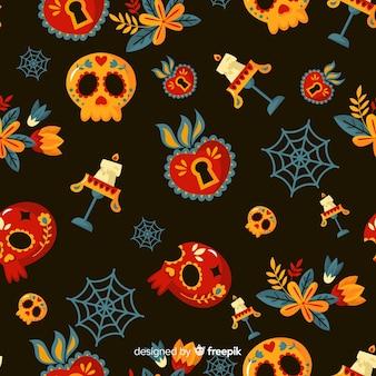 Dia de muertos patroon in plat ontwerp